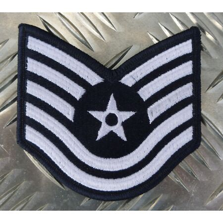 img-US Air Force USAF Technical Sergeant Military Iron-on Badge Patch - NEW