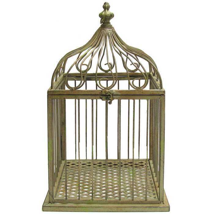 vintage style green metal bird cage large shabby chic bird feeder antique decor ebay. Black Bedroom Furniture Sets. Home Design Ideas