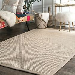 Kyпить nuLOOM Modern Natural Sisal and Cotton Blend Beige Bordered Area Rug на еВаy.соm