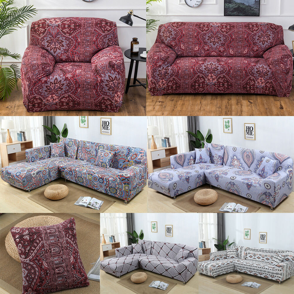 New Slipcover Stretch Sofa Cover Sofa With Loveseat Chair: 1/2/3/4 Seater Elastic Sofa Cover Slipcover Set Couch