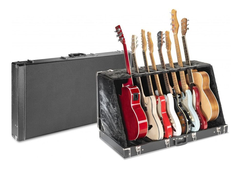 stagg universal multi guitar stand case holds 8 electric or 4 acoustic guitars 882030118043 ebay. Black Bedroom Furniture Sets. Home Design Ideas
