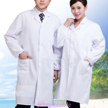 Men Women Unisex Medical Nurse Doctor Uniform White Long Sleeves Lab Coat Tops