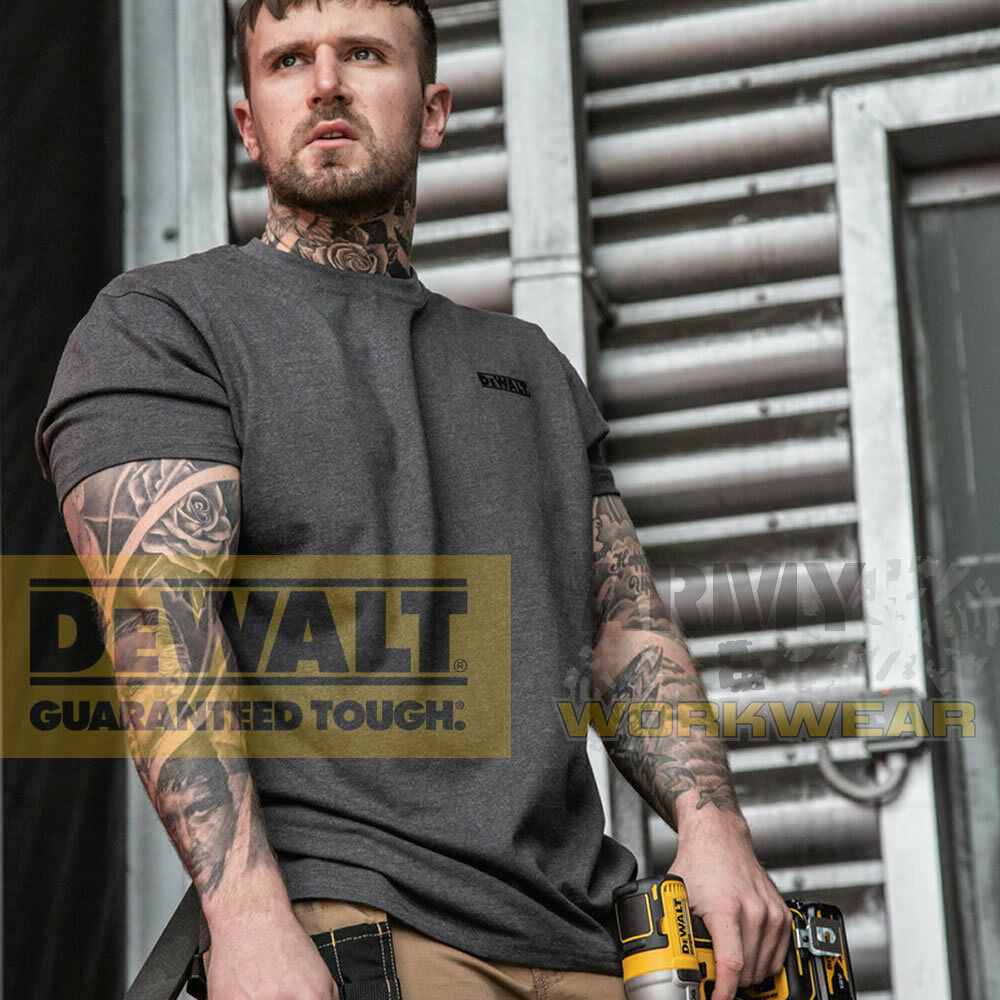 a46e3e89a8c8 Details about Dewaltn Mens Charcoal Grey T-Shirt Workwear Work Top Crew Neck  Logo Chest Top