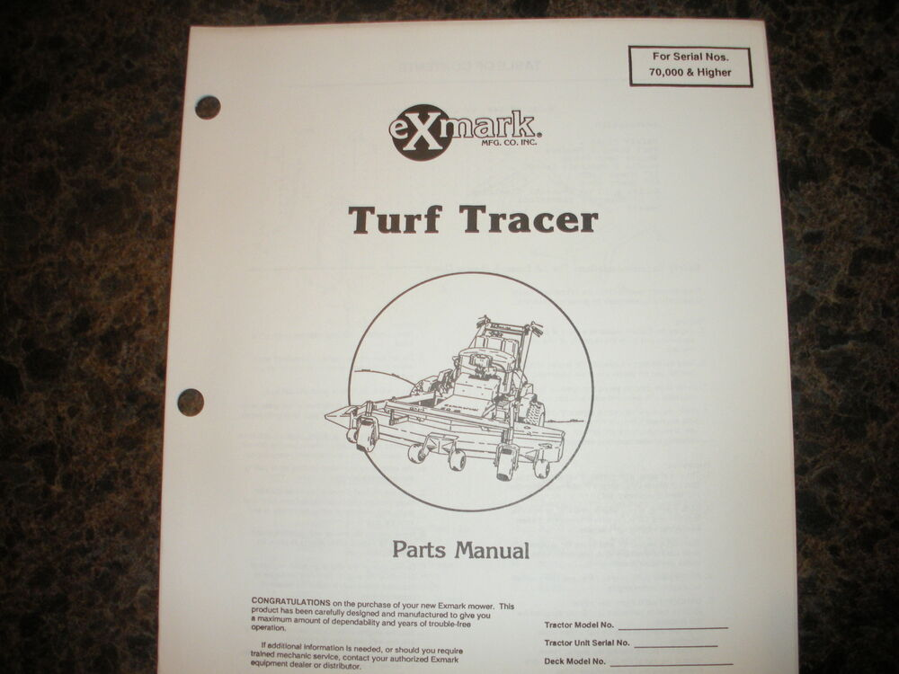 details about exmark turf tracer 70,000 & higher parts manual ipl 850154