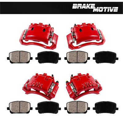 Front and Rear Red Brake Calipers and Ceramic Pads For Dodge Ram 1500 2500 3500