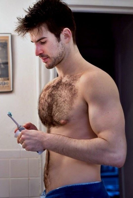 Shirtless Male Beefcake Muscular Hairy Chest Beard -3018