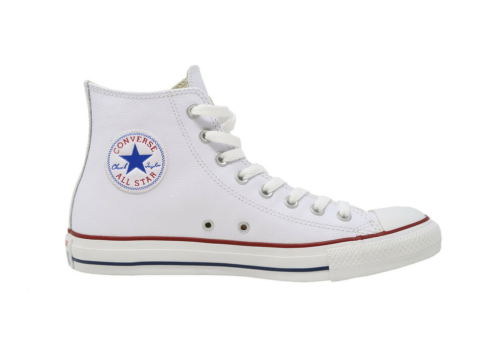 231b9205d74e Details about CONVERSE All Star Chuck Taylor Hi Top White Leather Red  Sneakers Adult Men Shoes