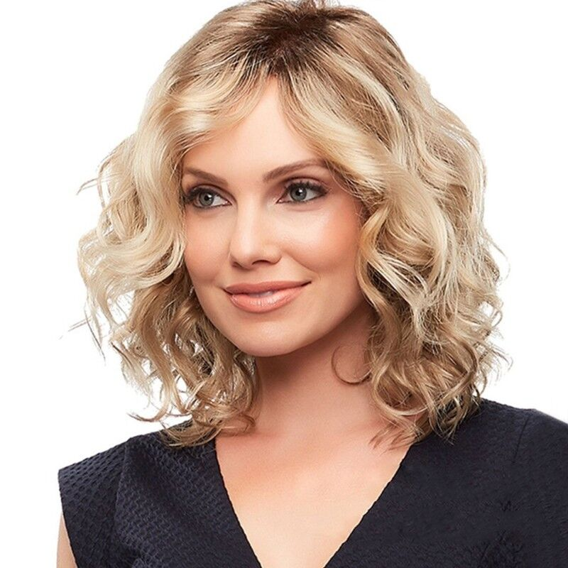 shoulder length blonde curly hair fashion women short blonde curly wigs side part wavy hair