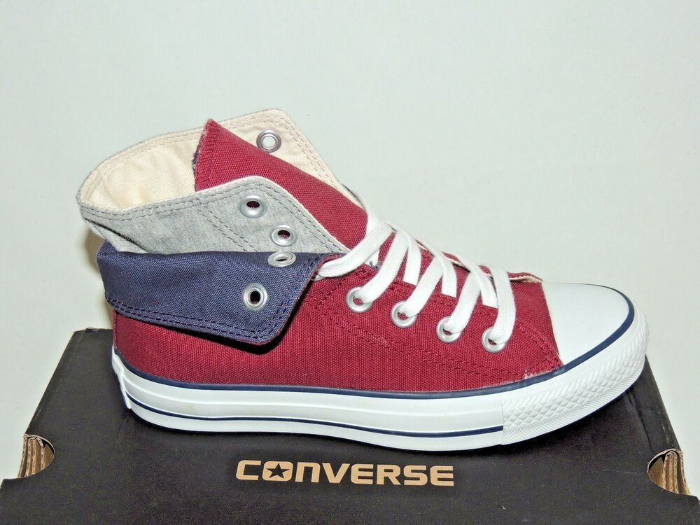 CONVERSE CT HI TWO FOLD LACE UP TRAINERS. CRANBERRY/GREY MARL. BNIB