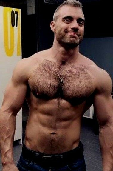 Shirtless Male Beefcake Muscular Hairy Chest Mature Hunk -3692