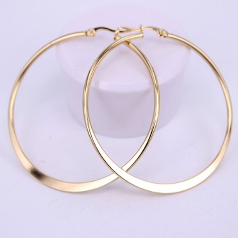 Details About 9ct Gold Plt Over Stainless Steel Flat Hoop Earrings 50mm New Uk Er 123
