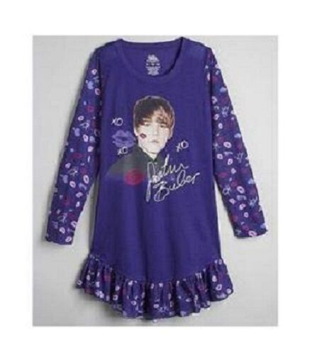 04624393423b Details about Justin BIEBER Nightgown Purple Ruffles PAJAMAS Pjs Girls  10 12 NeW Kisses Lips