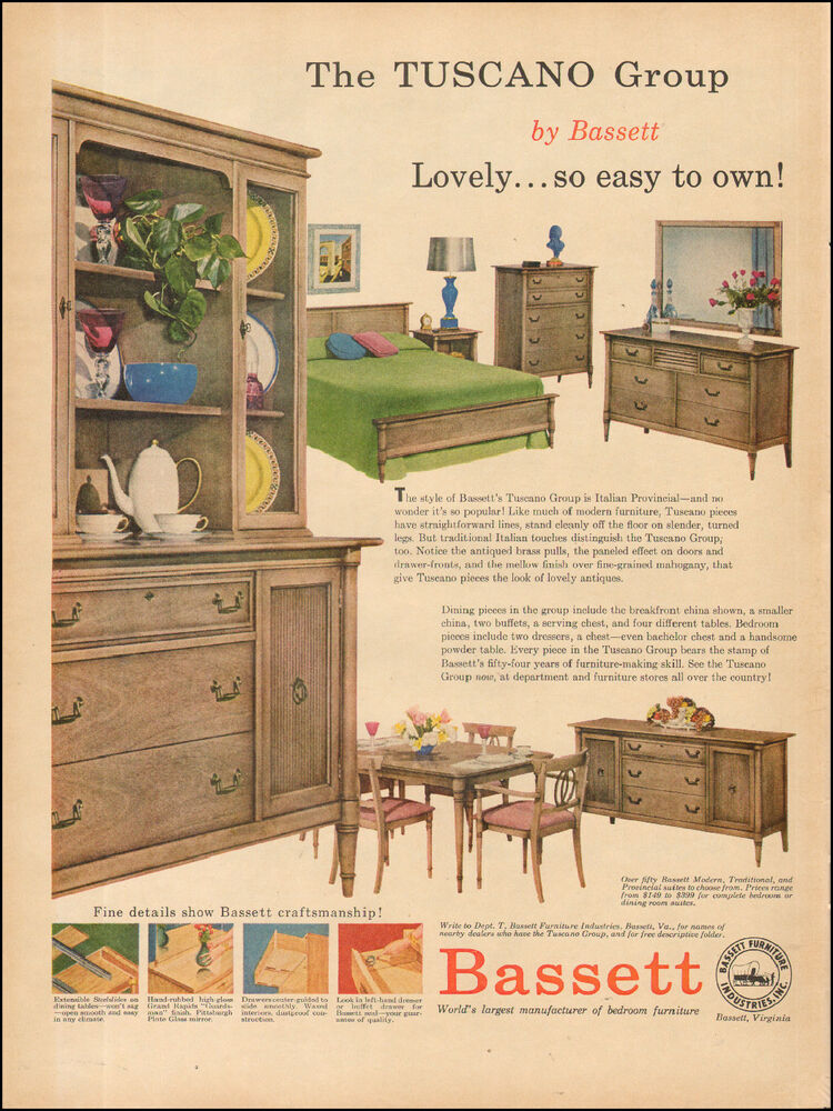 1957 Vintage ad for Bassett`Furniture retro Styles Photo Bedroom ...