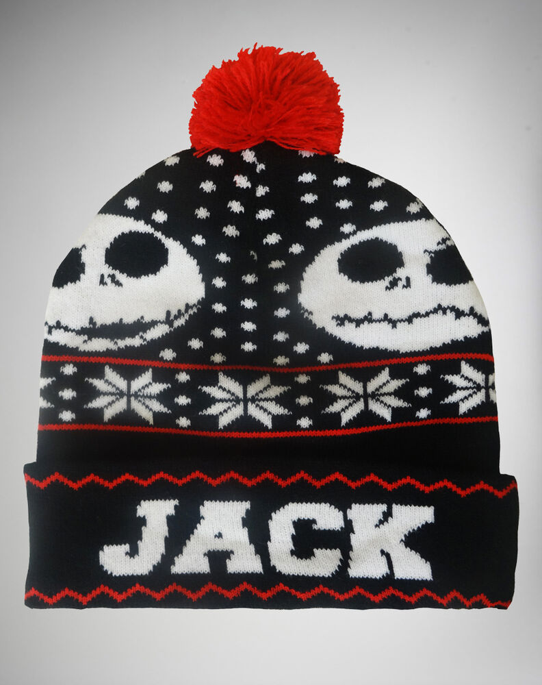 New Disney Nightmare Before Christmas Jack Ugly Sweater Pom Cap Hat ...