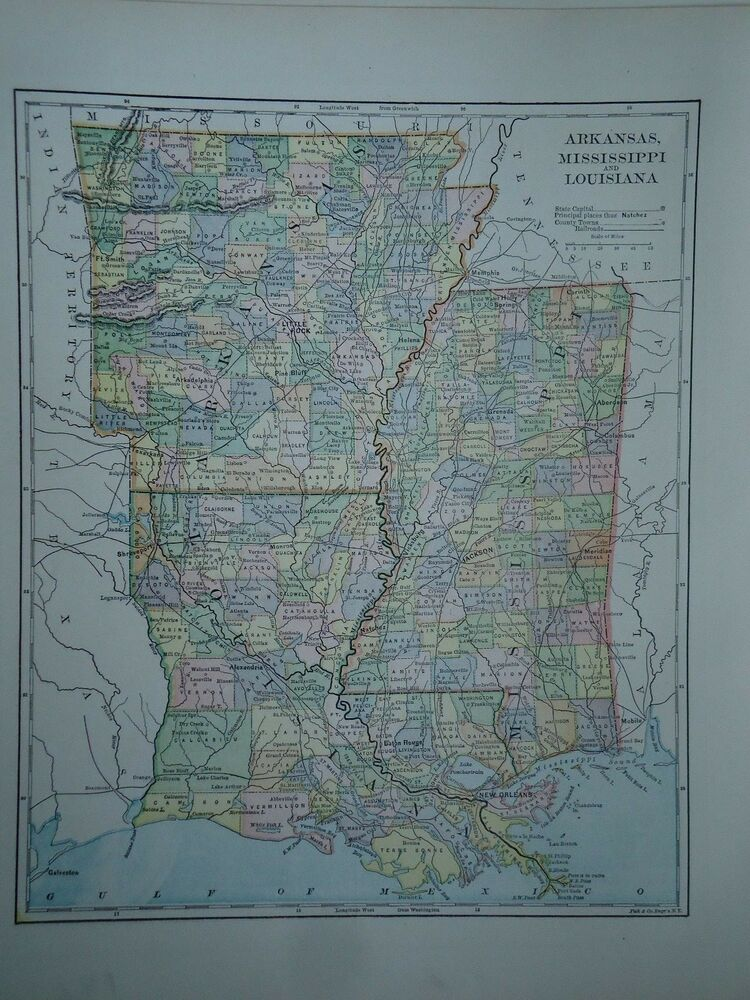 Mississippi And Louisiana Map.Vintage 1896 Louisiana Mississippi Map Old Authentic Antique Atlas