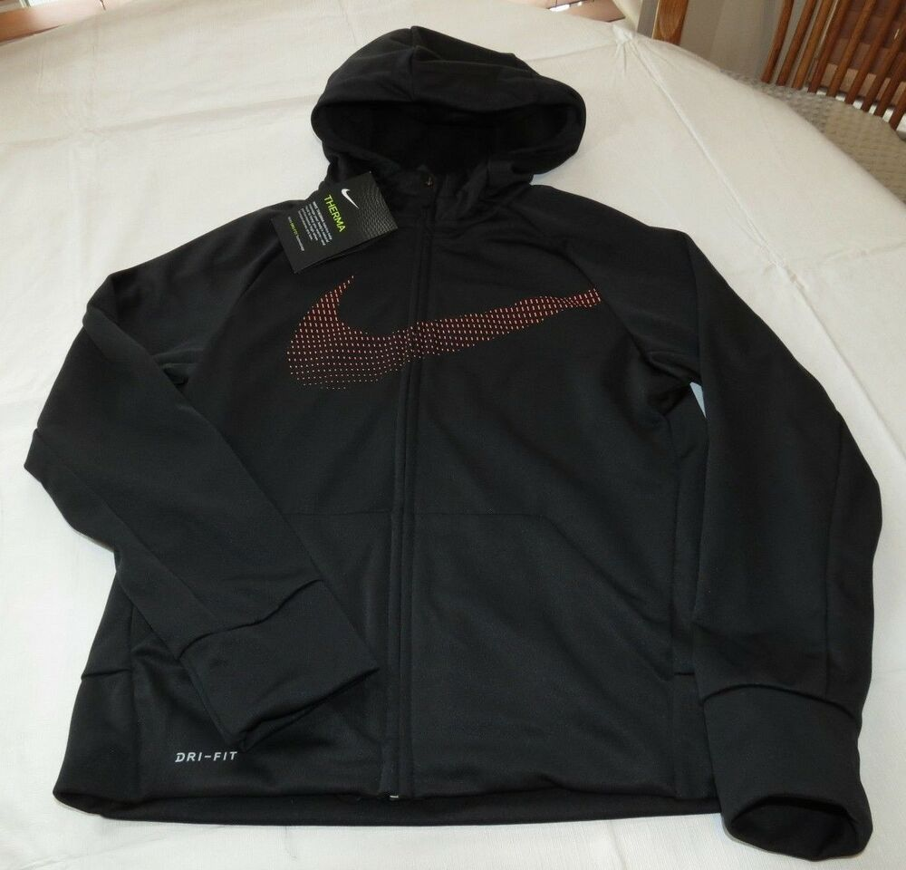 0689c307 Details about Boy's Nike Therma Fit858245 010 Black Swoosh zip up hoodie  jacket coat L large