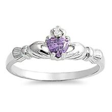 .925 Sterling Silver Ring Size 2 Kids Heart Baby Ladies Midi Amethyst CZ New
