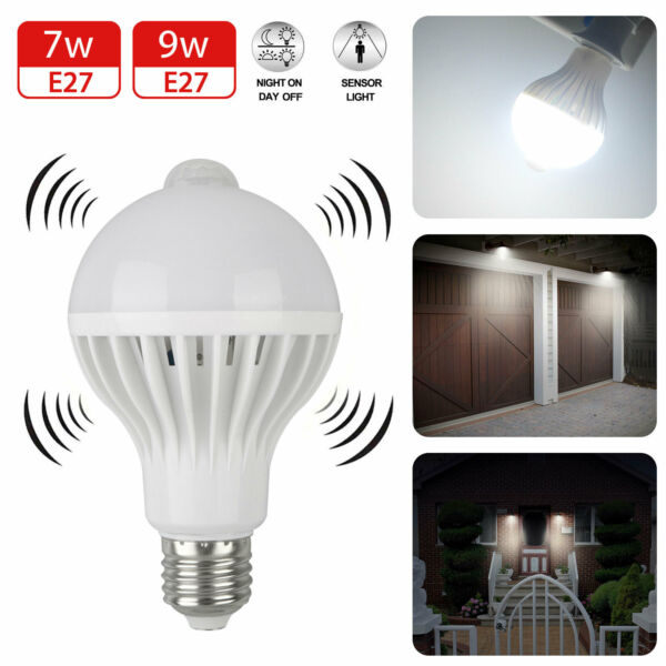 Indoor/Outdoor Motion Sensor Light Bulb Motion Activated LED Dusk to Dawn 7W 9W