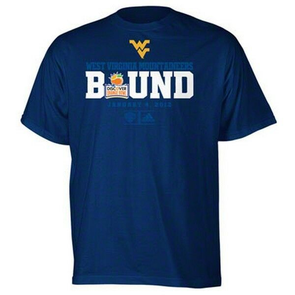 f92ad795 Details about WVU Mountaineers BCS Orange Bowl Bound t-shirt Adidas new  NCAA West Virginia