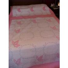 Vintage EMBROIDERED QUILT,  PINK FLOWERS w/ PINK BUTTERFLIES