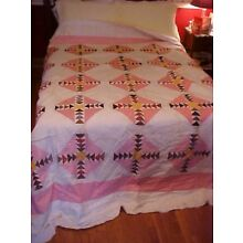Vintage PIECED QUILT,  PINK W/ SMALL RED TRIANGLES