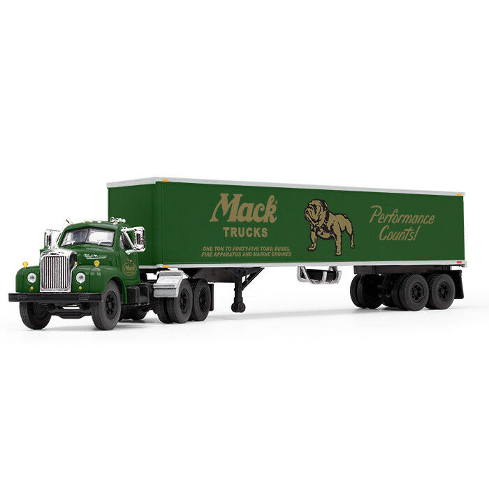 Details About 2018 First Gear 1 64 Green Mack B 61 Semi Truck Day Cab W 40 Vintage Trailer