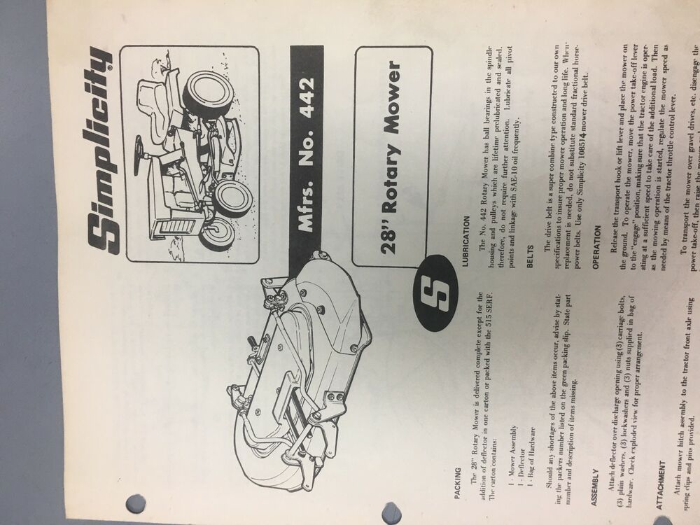 Simplicity 28 Rotary Mower 442 Tractor Manual