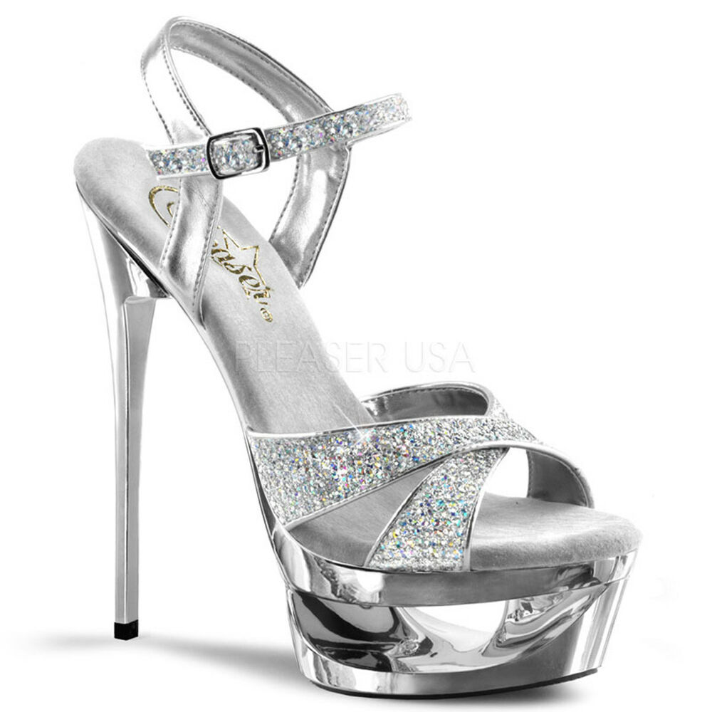 895acd476d1 Details about Silver Glitter Platform Shoes Pageant Prom Classy Criss Cross  Strap Heels 7 8 9