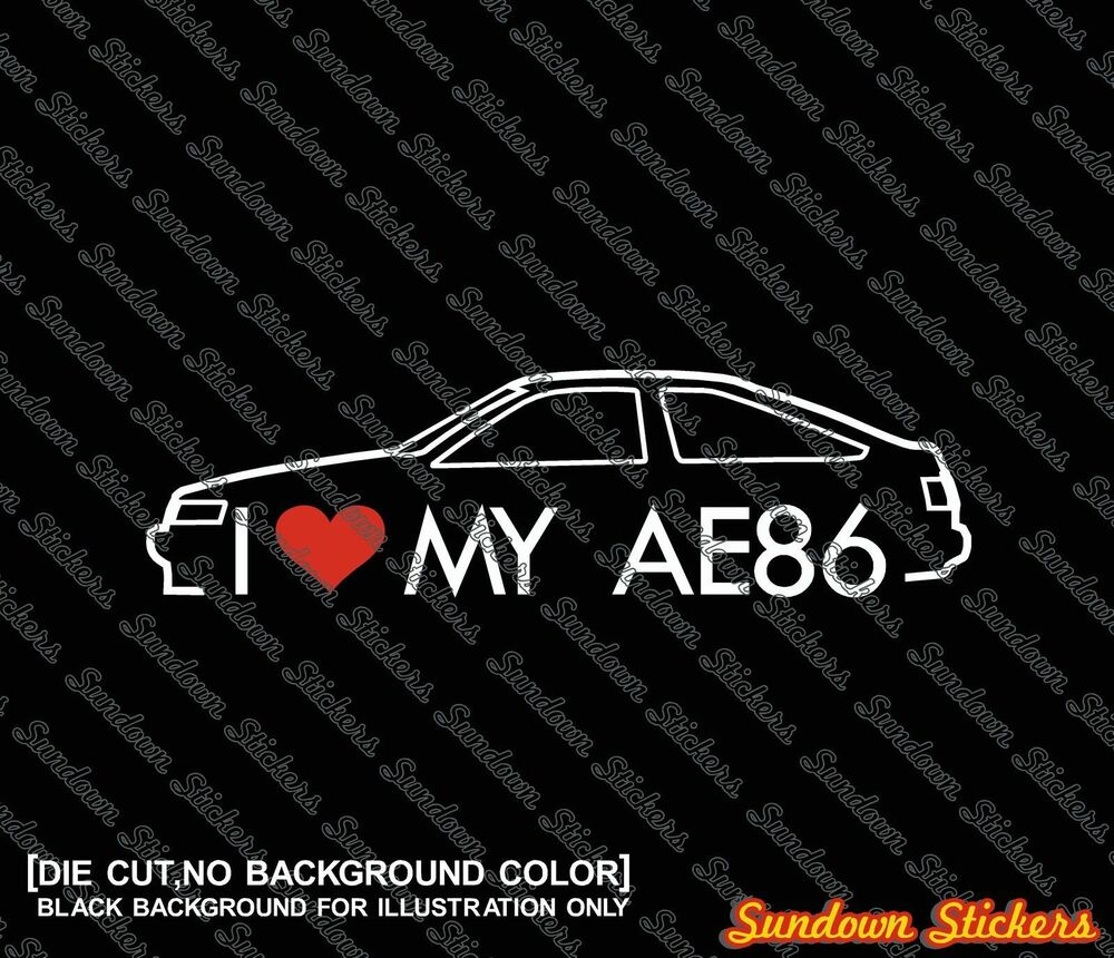 Details about 2x i love my ae86 stickers decals for toyota corolla levin gt classic jdm