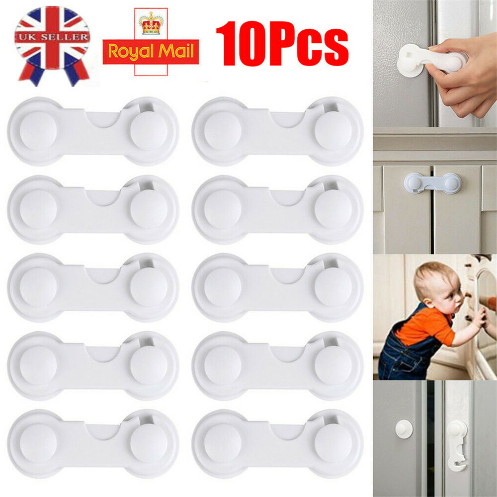 10pcs Adhesive Baby Door Locks Safety Lock Latch Drawer Cabinet Door