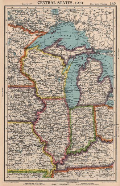 Michigan And Indiana Map.Midwest Usa Wi Michigan Illinois Indiana Great Lakes Bartholomew