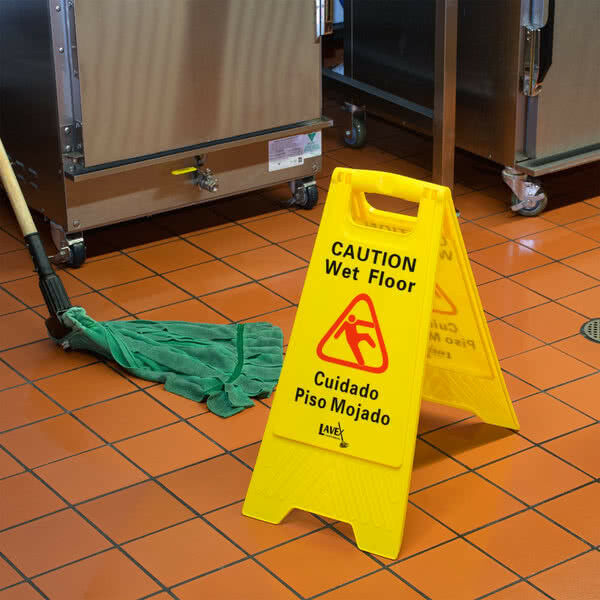 Wet Floor Sign History: 2 Caution Wet Floor Signs Folding Safety Slippery Free