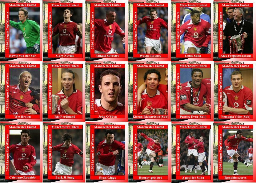 2d4bc0047 Manchester United 2006 Football League Cup final winners trading cards