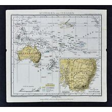 1875 Lange Map - Australia Oceania New South Wales Hawaii Tahiti New Zealand