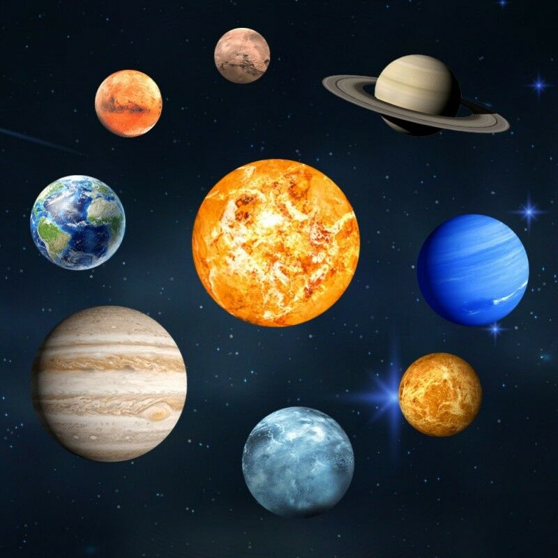 Coloring for Kids colors of the planets in the solar system for kids : SOLAR SYSTEM Galaxy 9# Planets Glow In The Dark Wall Stickers Decal ...