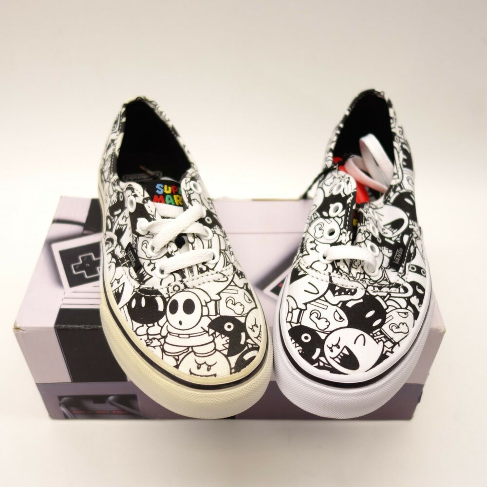 319526a41c Details about New Vans Womens Black   White Nintendo Super Mario Skate Shoes  US 6 EU 36