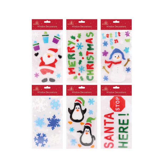 Details about set of 6 x christmas xmas rectangle window gel jelly stickers decals decorations