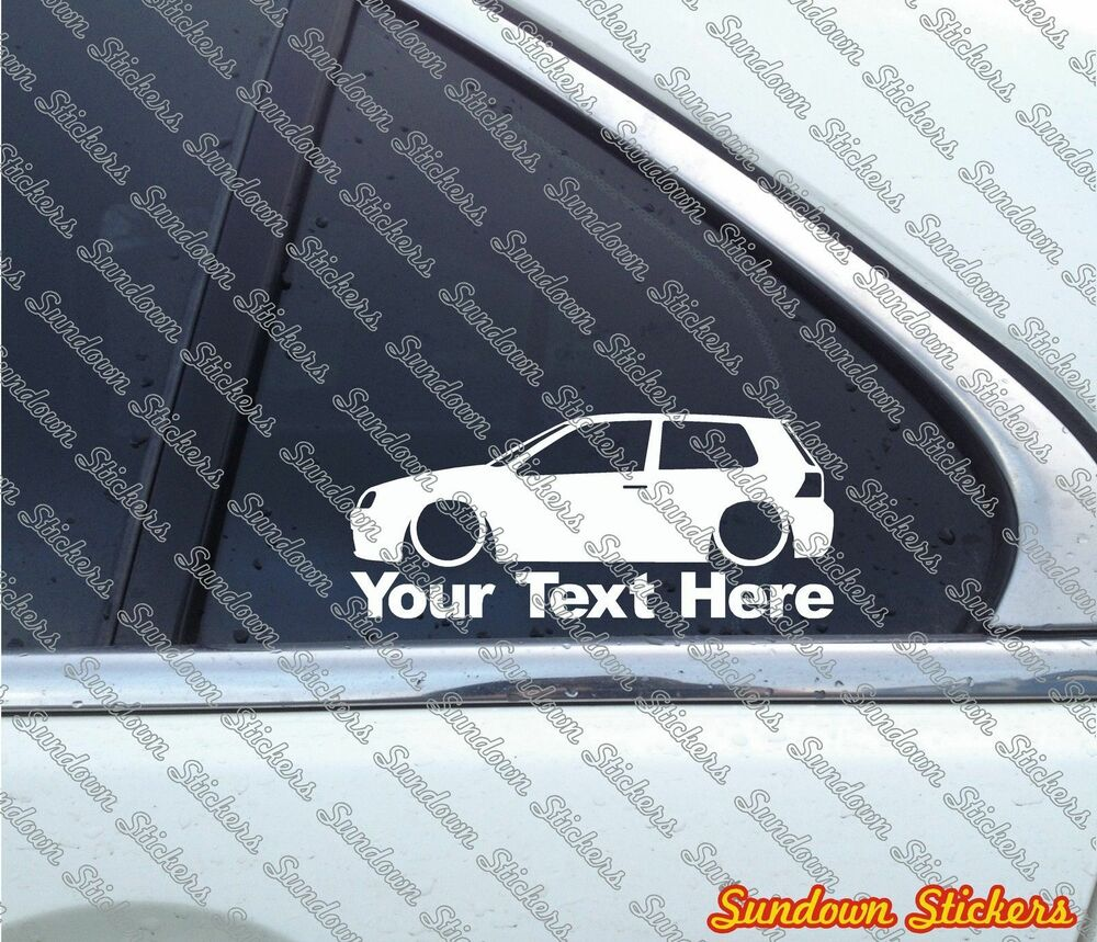 Details about 2x custom your text low car sticker for vw golf mk4 r32 gti 3 door