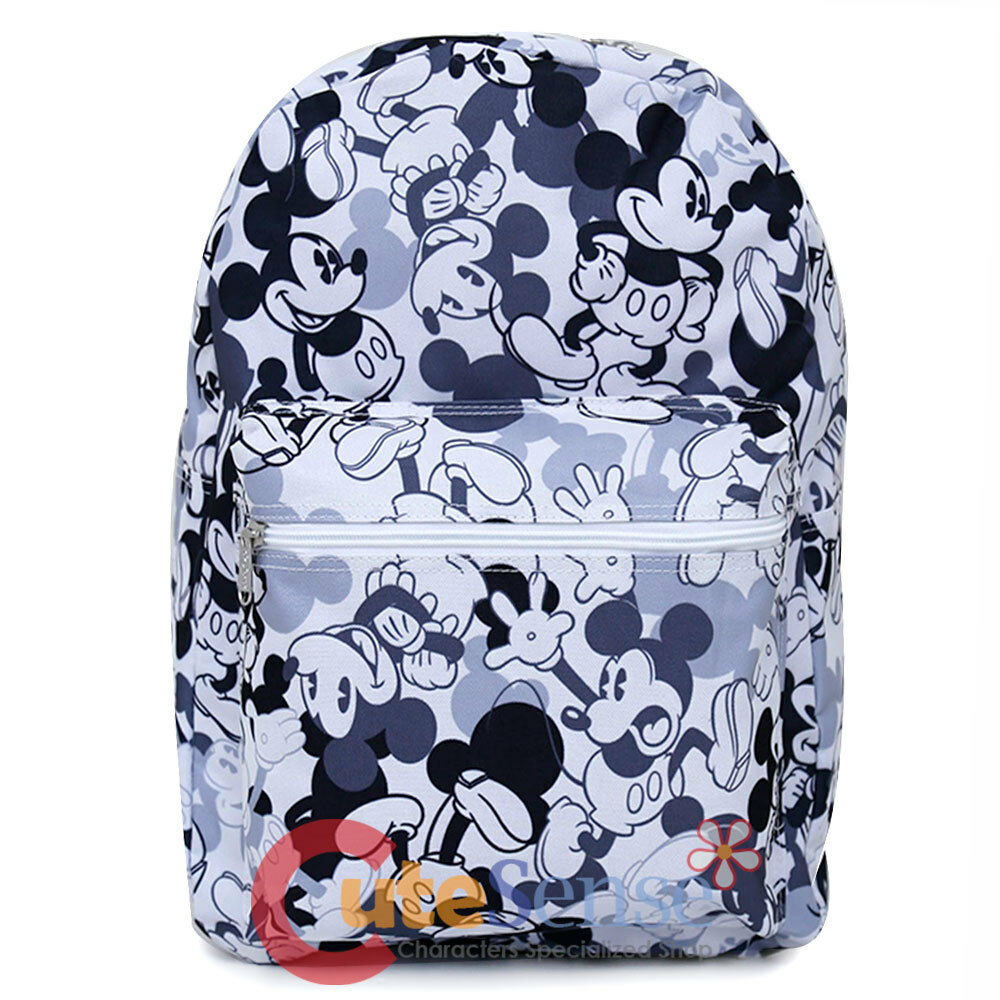 f52dd397ab82 Details about Disney Mickey Mouse Large School Backpack Mono All Over Prints  Book Bag