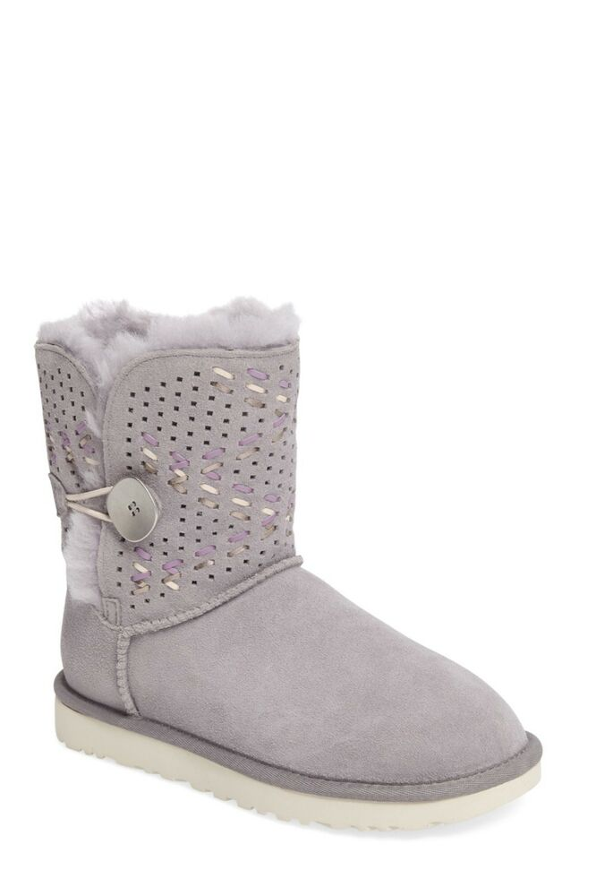 880d48195cc UGG AUSTRALIA Boots Bailey Button Tehuano UGG Shearling Leather Grey ...