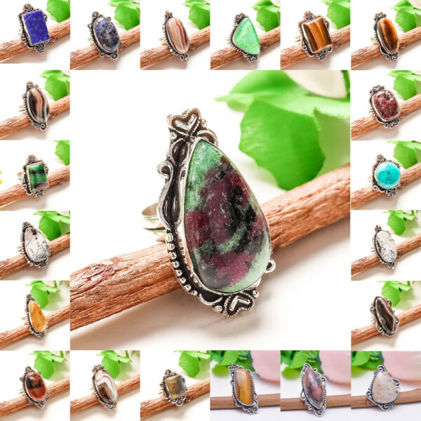 Free Shipping Mix Lot Natural Black Rotile 925 Silver Gemstone Jewelry Ring