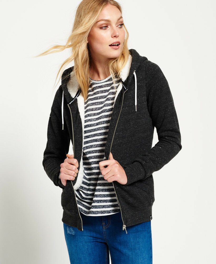 b77e0c10e8816 Details about New Womens Superdry Orange Label Luxe Sherpa Zip Hoodie  Charcoal Jaspe