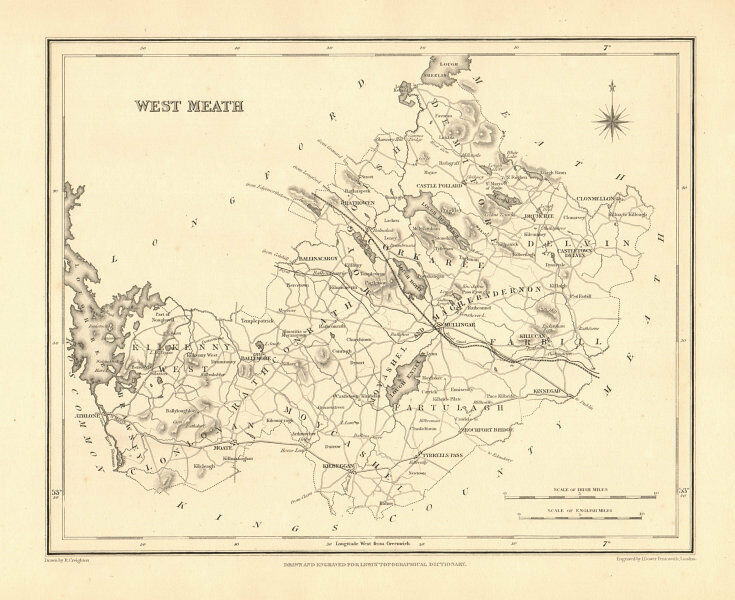 Westmeath Ireland Map.County Westmeath Antique Map For Lewis By Creighton Dower
