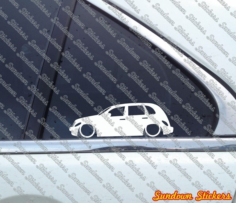 Details about 2x lowered car outline stickers for chrysler pt cruiser retro