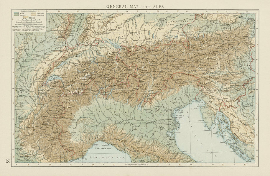 General map of the Alps, showing the alpine ranges. THE TIMES 1900 ...