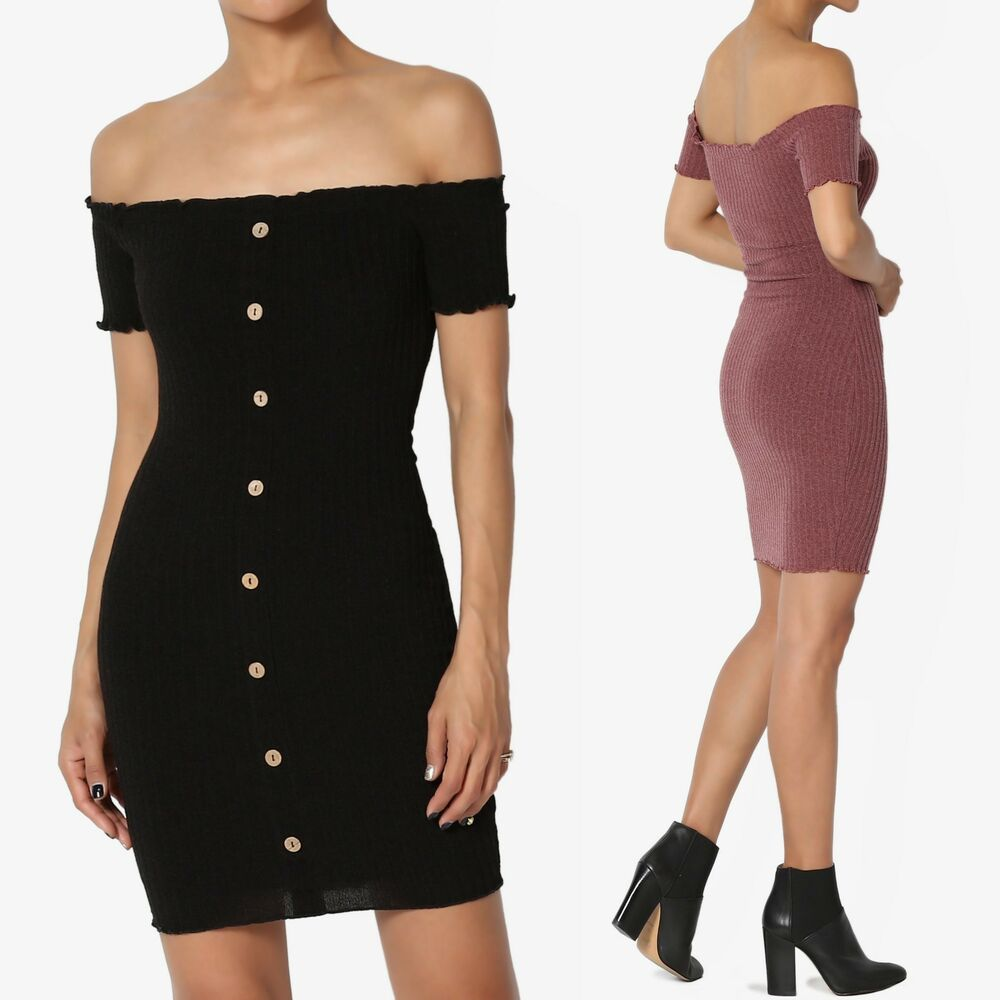 c9b83cdb3bc0 Details about TheMogan Off The Shoulder Short Sleeve Stretch Ribbed Knit  Bodycon Mini Dress