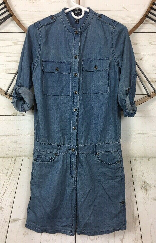 7f3c00de0e0 Details about Spoon Jeans Chambray Romper Jumpsuit Shorts 3 4 Tab Sleeve  Style  178031 Size 3