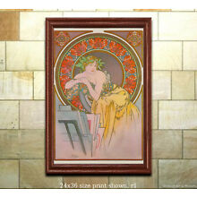 Art Nouveau Print A. Mucha Girl with Easel 1898 [6 sizes, matte+glossy avail]