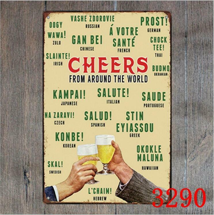 Cheers Beer Sign Vintage Metal Tin Signs Plate Pub Bar Decor Art