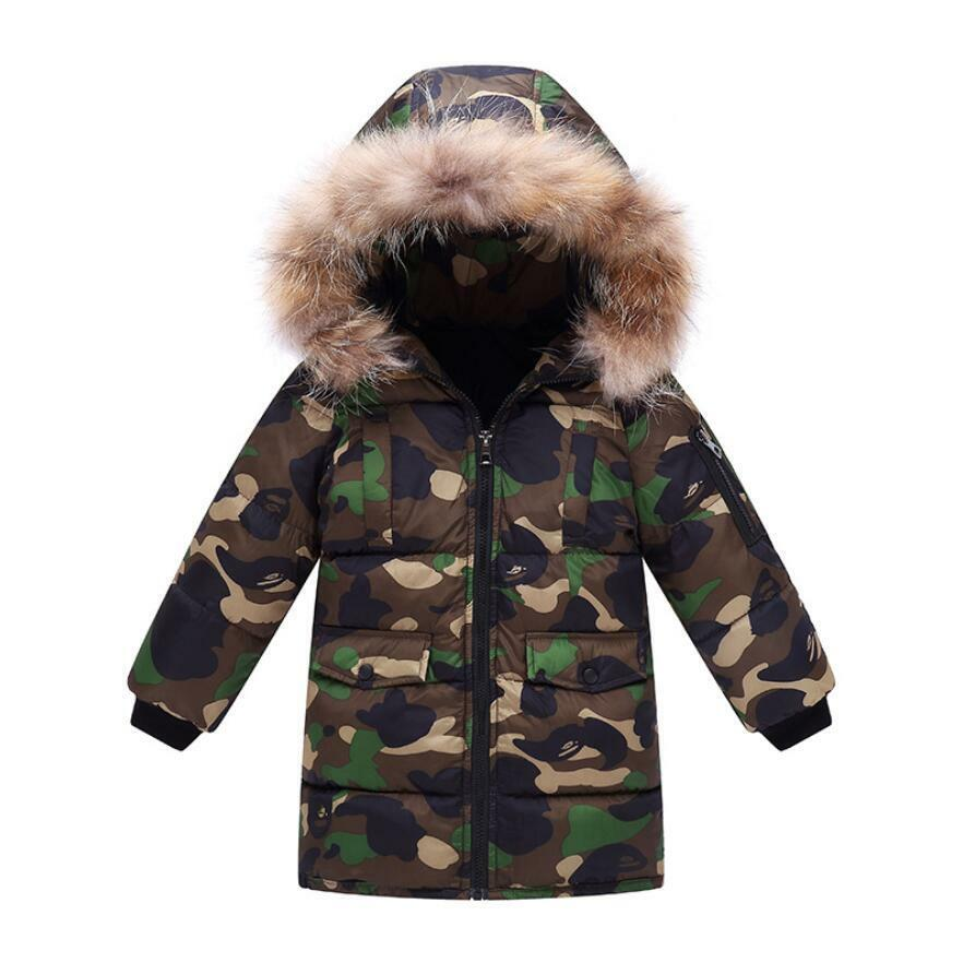 5f9d678304c Details about Fur Hooded Coat Boys Kids Camouflage Warm Winter Cotton  Padded Long Parka Jacket